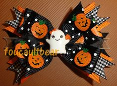 M2MG Halloween Little Ghost Pumpkin Hair Bow by foucaultbear, $7.99