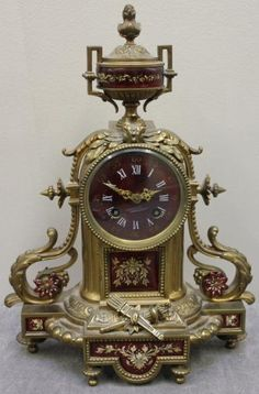 French Bronze And Enamel Mantle Clock