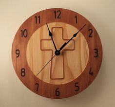 Cross Clock Wood Clock Wall Clock Wooden Wall By BunBunWoodworking
