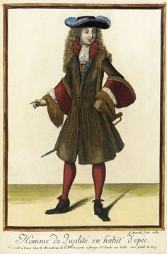 "1687 French Fashion plate ""Recueil des modes de la cour de France, 'Homme de Qualité, en Habit d'Épée'"" at the Los Angeles County Museum of Art, Los Angeles:"