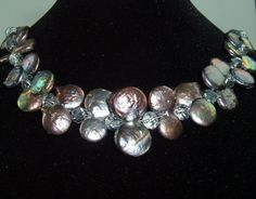 Double Coin Pearl Necklace with Sparkling by extravagantdesigns, $58.00