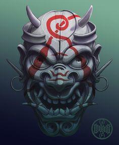 Evil painted samurai mask, Máté Lukács on ArtStation