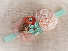 Lt.peach,mint and mocha shabby chic baby headband, pink flower headband, baby girl headband, newborn toddler headband