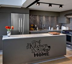 KITCHEN IS THE HEART OF THE HOME  WORDS HOME  VINYL DECOR DECAL WALL LETTERING.... i could do this on the wall