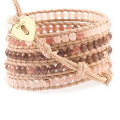 Pink Mix Wrap Bracelet with Rose Gold on Beige Leather - Chan Luu