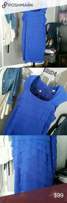 """Gorgeous Cobalt Adrianna Papell Woman 20W Excellent, like new condition from a smoke and pet free home  Worn once, drycleaned  Squared neckline,  tiered all over, zips up the back with a hook and eye closure  Fully lined  100% polyester  Approx Measurements  Bust 24.5"""" Waist area 22"""" Length 43"""" Adrianna Papell Dresses Midi"""