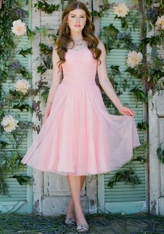 beautiful peach tulle! flattering shape on everyone, and affordable--and you could do raspberry flowers and shoes!