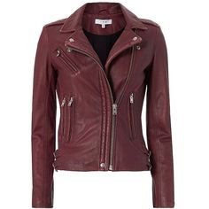 IRO Women's Han Leather Biker Jacket ($1,265) ❤ liked on Polyvore featuring outerwear, jackets, red jacket, lined leather jacket, genuine leather jackets, leather moto jacket and motorcycle jacket