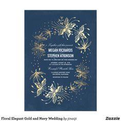 Floral Elegant Gold and Navy Wedding