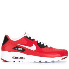 Nike 'Air Max 90 Ultra Essential' sneakers (£120) ❤ liked on Polyvore featuring men's fashion, men's shoes, men's sneakers, red, mens lace up shoes, nike mens sneakers, mens red shoes, mens red sneakers and nike mens shoes