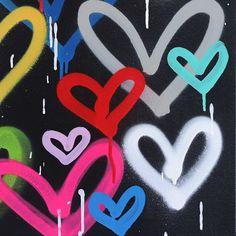 Graffiti Wall Art, Heart Graffiti, Love Canvas, Cute Room Decor, Living Room Art, Western Art, Wild Hearts, Contemporary Paintings, Art Techniques