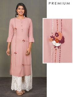 Minimal Bouquet Embroidered Premium Rayon Kurti - M Embroidery On Kurtis, Hand Embroidery Dress, Kurti Embroidery Design, Embroidery Fashion, Creative Embroidery, Embroidery Art, Silk Kurti Designs, Kurti Designs Party Wear, Blouse Designs