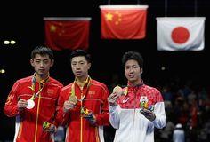 Ma Long, Kina vann guld i herrarnas bordtennis. Zhang Jike silver och Jun Mizutani, Japan brons.