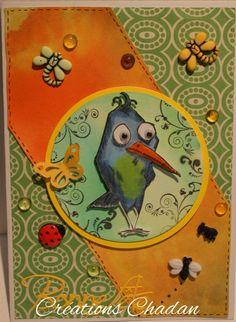 Carte réalisée avec les Crazy Birds de Tim Holtz