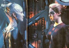 Seven of Nine comes face to face with the Borg Queen. Star Trek Borg, Seven Of Nine, Halloween Queen, Star Trek Voyager, Great Love Stories, Cg Art, Vinyl Signs, Favorite Person, Happily Ever After