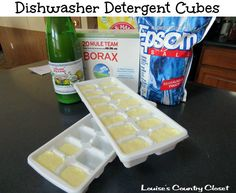 Homemade dishwasher detergent cubes with just four ingredients! 1 Cup Borax, 1 Cup Washing Soda, 1/4 Cup Epsom Salt, Lemon   Juice.