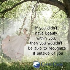 """if you didn't have beauty within you, then you wouldn't be able to recognize it outside of you."""