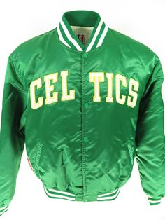 Vtg 80s Starter NBA Boston Celtics Basketball Shiny Satin Jacket 2XL Quilted Liner [G96S 1lb 11oz]