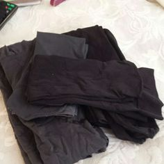 2 pair of tights and two pair of trouser socks They have never been worn they  have been sitting in my drawer and I am cleaning out the drawers one pair black tight and one gray also one grey trouser socks and one black trouser socks these are not marked with a size  I do believe they are a size C  trouser socks are womens 8 to 11 Intimates & Sleepwear