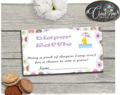 Baby shower Girl Rubber Duck DIAPER RAFFLE insert card printable with pink purple theme, Jpg Pdf, digital files, instant download - rd001 #babyshowergifts #babyshowerideas