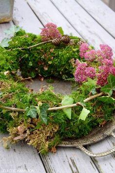 DIY moss wreath - easy and fast bound- DIY Mooskranz – einfach und schnell gebunden DIY moss wreath – easy and fast bound - Diy Fall Wreath, Fall Wreaths, Diy Crafts Love, Moss Wreath, Fleurs Diy, Deco Floral, Garden Club, Autumn Garden, Diy Flowers