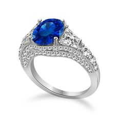 4.88 CT Created Sapphire & VVS1 Diamond Trillion Cut Sides Sterling Silver Ring #Affinityfashionjewelry #ThreeStone