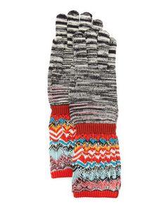 Space Dye & Zigzag Knit Gloves