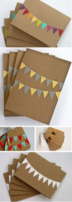 Ideas for diy paper crafts cards Cute Cards, Diy Cards, Diy Paper, Paper Crafts, Kraft Paper, Paper Bunting, Diy Bunting, Washi Tape Diy, Washi Tape Cards