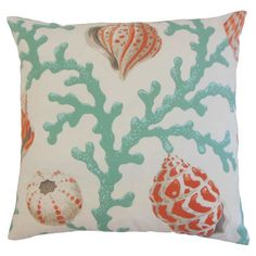 Add a stylish touch to your patio seating group or reading nook arm chair with this lovely pillow, featuring a coral print for coastal appeal. ...