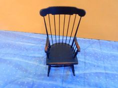 1:12 Miniature Vintage Artisan DRP Signed Distressed Fine Painted Wooden Rocker