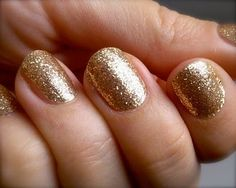 gold sparkly nail polish