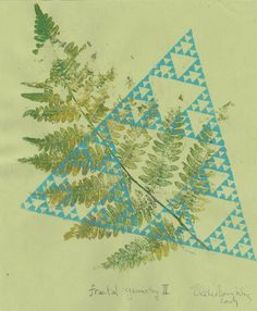 This in a handmade print of a fern leaf and a linocut fractal Sierpiński Triangle, on apple green Japanese Tairei paper 8 inches by 10 inches (20.3 cm