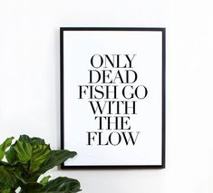 Fish Wall Art Print typography quote wall decor by MottosPrint