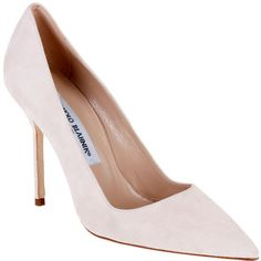 Manolo Blahnik Bb 105 Nude Suede Pump Classic ($516) ❤ liked on Polyvore