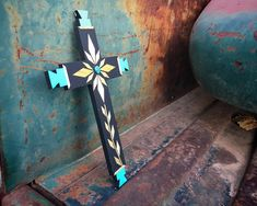 Straw Applique & Turquoise Wall Cross by Pueblo Artist Carlton Gallegos, Native American Art