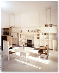 Furniture designer and interior designer, Charles Rennie Mackintosh (1868 – 1928), created the first all white room interiors. That, and some iconic chair designs.