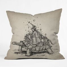 Brandon Dover Tortoise Town Throw Pillow