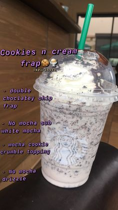 Starbucks Cookies n cream Frappuccino Taste just like OreosYou can find Starbucks recipes and more on our website.Starbucks Cookies n cream Frappuccino Taste just like Oreos Starbucks Hacks, Starbucks Secret Menu Drinks, Starbucks Coffee, Find Starbucks, Starbucks Order, Starbucks Cookies And Cream Frappuccino Recipe, Starbucks Secret Frappuccino, Bebidas Do Starbucks, Healthy Starbucks Drinks
