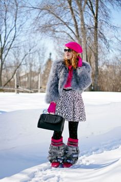 Winnipeg Canadian Fashion Blog, Julie Pedersen Muckies Urban Mukluks handmade leather suede fur feather hot pink  boots, BCBG Margaret feather jacket, Bodhi handbags Safety Pin clutch, Banana Republic leopard skirt