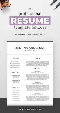 Professionally designed resume template that showcases your skills and experience in an elegant and effective way. The layout is optimized for building a resume that is informative, visually attractive and easy to navigate. The template package includes resume, cover letter and references templates in matching designs for creating a complete and consistent job application quickly and easily. Build your new resume now! #resume #resumetemplate #cv #cvtemplate #jobsearch #jobhunt #careeradvice One Page Resume Template, Modern Resume Template, Creative Resume Templates, Cover Letter For Resume, Cover Letter Template, Resume References, Microsoft Word 2007, Thing 1, Resume Design