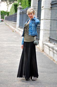 Sheer Long Skirt & Jeans Jacket | Coffee Blooms