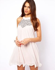 Enlarge Lipsy Babydoll Dress with Sequin Neckline Going Out Dresses, Cute Dresses, Beautiful Dresses, Casual Dresses, Short Dresses, Gala Dresses, Evening Dresses, Latest Fashion Clothes, Fashion Outfits