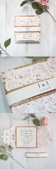 elegant blush pink laser cut wedding invitation with rose gold glitter belly band