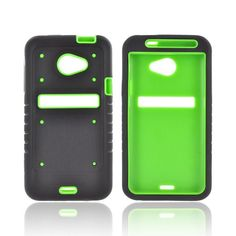 HTC EVO 4G LTE Duo Shield Silicone Over Hard Case w/ Screen Protector - Black/ Green