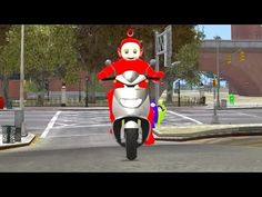 Teletubbies Playing in the City and Park with Bicycles Motorbikes and Da...