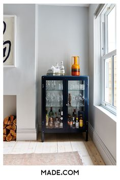 A smart drinks cabinet is a must. Fill with your best glassware and and be the e… A smart drinks cabinet is a must. Fill with your best glassware and and be the envy of all your friends. Bar Furniture, Home Bar Decor, Dining Room Decor, Bar Decor, Home, Cheap Home Decor, Interior, Living Room Bar, Home Decor