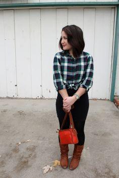 a cute way to wear a plaid shirt
