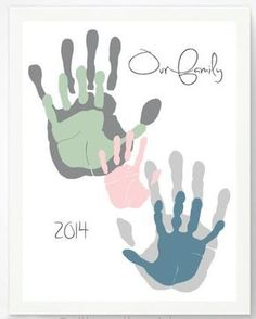 Meaningful Handprint Art Gifts: Our Family Personalized Hand Print Family Portrait Art Print by Pitter Patter Print @ Etsy: Family Art Projects, Family Crafts, Baby Crafts, Projects For Kids, Family Activities, Family Painting, Painting For Kids, Art For Kids, Hand Art Kids