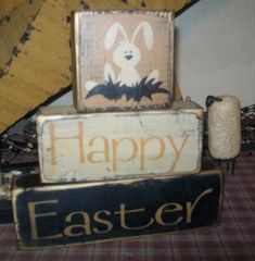 HAPPY EASTER BUNNY EGGS 2 PRIMITIVE EASTER BLOCK SIGNS SIGN