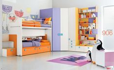 Dielle White Based Kids Rooms with Colorful Furniture : Dazzling White Based Shared Kids Room with Orange Purple Beds and Periwinkle White Closet